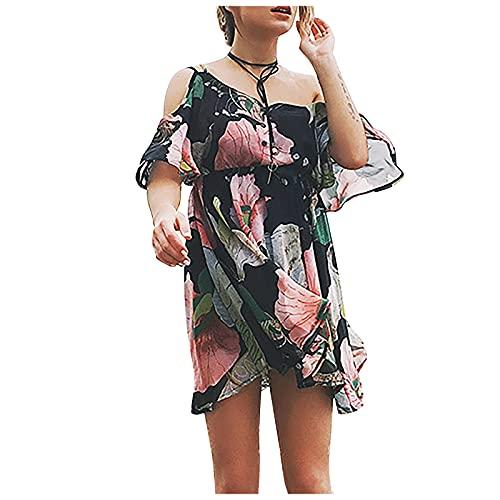 Liably Vestido de mujer con cuello en V, sin tirantes, cintura impresa, con volantes, de gasa, bohemio, mini...