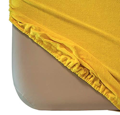 Zen Frottee Spannbezug für Massage-Liegen   passend für 71-81 cm x 185-195 cm   extra weich   waschbar 60°   OEKO TEX 100   für alle gängigen Kosmetik-Tische und Therapie-Bänke (Gelb)