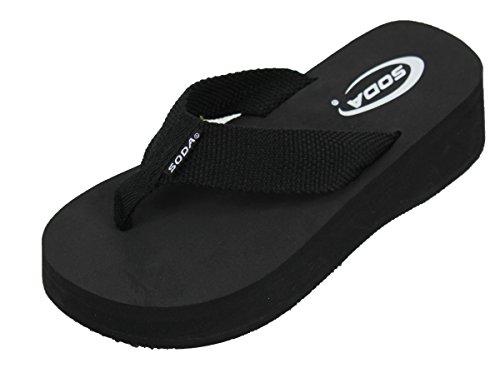SODA Women's Aiken Flip Flop Thong Platform Wedges Sandals