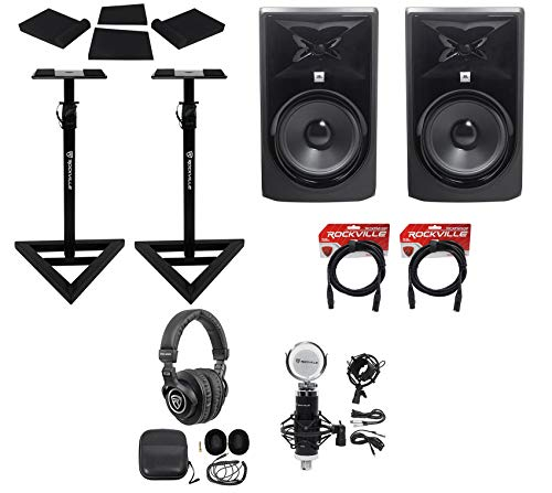 "(2) JBL 308P MkII 8"" Powered Studio Monitors+Stands+Pads+Cables+Headphones+Mic"