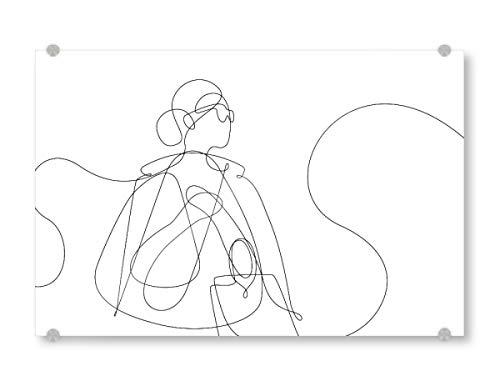 artboxONE Acrylglasbild 120x80 cm Menschen and She Went Shopping Bild hinter Acrylglas - Bild minimal Shopping Bags
