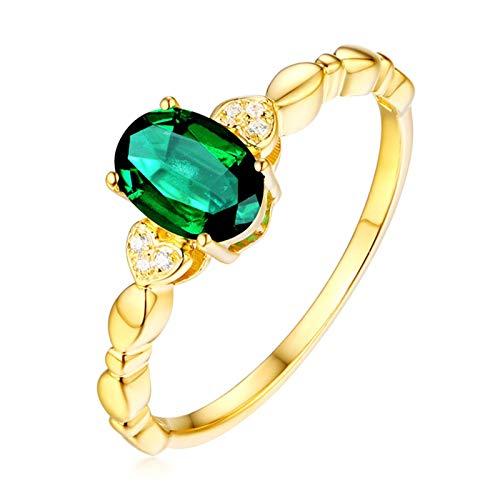 AueDsa Anillo Verde Anillos de Mujer de Oro Amarillo 18K Oval con Diamante Esmeralda Verde Blanca 0.67ct Anillo Talla 6,75