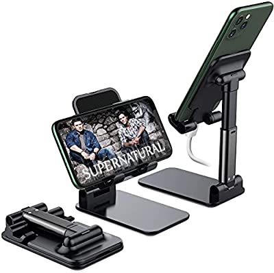 Foldable Cell Phone Stand, Yoozon [2021 Updated] Angle & Height Adjustable Desk Phone Holder with Stable Anti-Slip Design Compatible with iPhone 12/12 Pro/Smartphones/iPad Mini/Kindle from yoozon