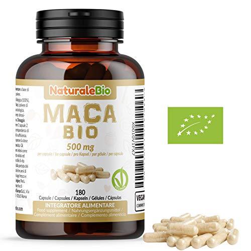 Maca Peruviana Biologica in Capsule da 500mg (180 capsule). 100{8c93f254dd2d7e00221ddc38cc42b4a6713c75a03a03fcf58ef865b73a33236a} Gelatinizzata, Naturale e Pura, Prodotto in Perù dalla Radice di Maca Bio. NaturaleBio