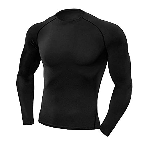 Copper Compression Long Sleeve Mens Recovery Shirt. Best Compression Fit Support Black