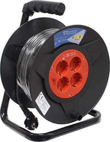 Super Power 56732 Prolongador Eléctrico con Enrollador, 25 m