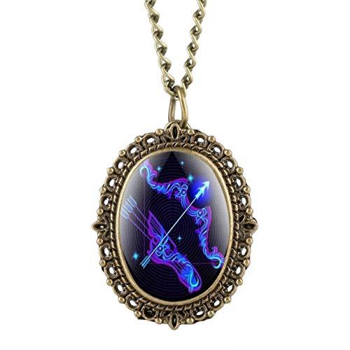 ZMKW Reloj de Bolsillo Ovalado de 12 Constelaciones de astrología, Collar de Zodiaco Azul Fluorescente único con Colgante, Regalo de cumpleaños de Cuarzo, Sagitario