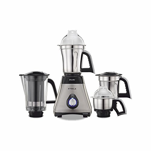 Preethi Steel Supreme MG-208 Mixer Grinder, 750W, 4 Jars (Silver/ Black)
