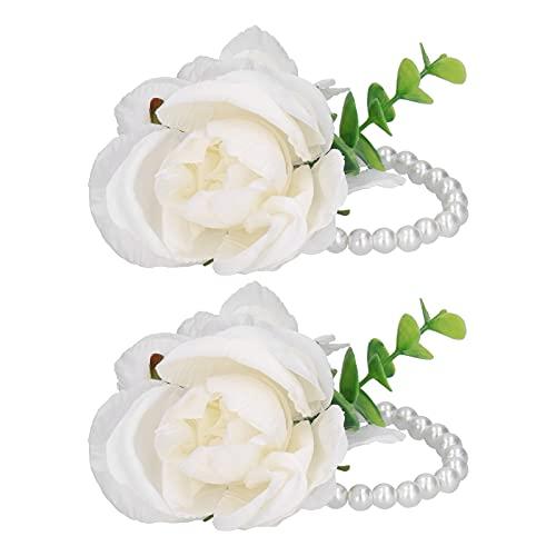 01 Flor de Mano de Novia, Flor de muñeca 2 Piezas Ramillete de muñeca de Boda Ramillete de muñeca para Fiesta de Baile para Boda para Aniversario(Blanco)