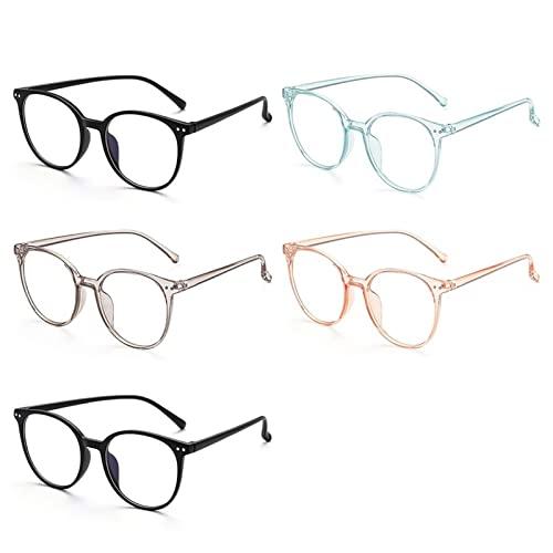 siqiwl Gafas de Lectura, Gafas de Gran tamaño de la Moda de 5pcs, luz Anti Azul, Anti radiación, Marco de Lentes Transparentes, Gafas portátiles for Oficina, computadora (Color : 5pcs, Size : +1)
