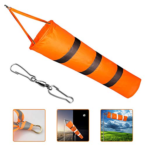 EMAGEREN Airport Windsock Weatherproof Fluorescent Windsock Flags Rip-stop Outdoor Wind Measurement Bag with Reflective Belt and 1 Dual Swivel Clips for Wind Direction and Strength Indicating(80cm)
