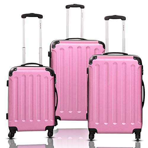 A softer pink this time, a pink vintage luggage set but everything you need in a three piece luggage set is included. Another great choice.