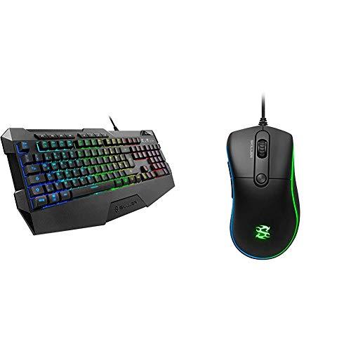 Sharkoon Skiller SGK4 Gaming Keyboard RGB, N-Key-Rollover, (Deutsches Tastaturlayout) & Skiller SGM2 RGB Gaming Maus, optisch 6400 DPI, Ergonomische Form Mehrfarbig