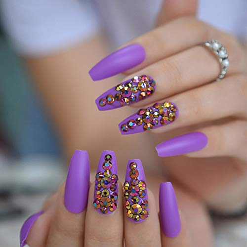 Faux Ongles 3D Bling Glitter Gradeint Natrual Faux Faux Ongles Extra Long Press sur Party Finger Wear 24Pc