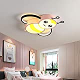 WANG-LIGHT Creativo Dibujos Animados LED Regulable con Control Remoto Luz De Techopara Habitación De Niños Habitación, Lámpara De Techo Moderna para Niños, Iluminación De Abeja,Pinkwhitelight