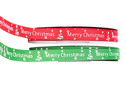 Christmas Ribbon 2 Rolls 1cm Wide 50 Yards Red and Green Christmas Pattern Printed Christmas Grosgrain Ribbon for Christmas Thanksgiving Gift Wrapping (2 Roll -1cm Merry Christmas)