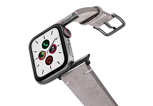 Meridio Taupewood - Correa para Apple Watch, ante gris de piel auténtica, fabricada en Italia, con acabados en algodón, talla 44, aluminio, color gris