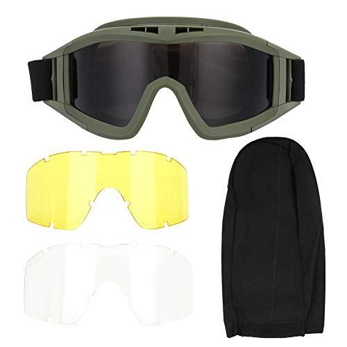 SolUptanisu Tactics Goggle, Tactics Goggles Airsoft Paintball Ski Antipolvo Antivaho Gafas de protección para los Ojos Gafas antivaho Militares(Verde)