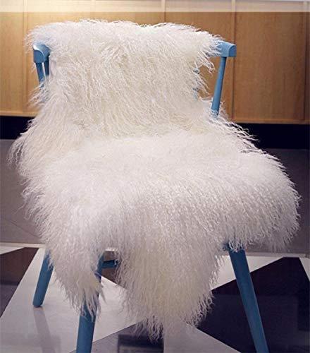 Genuine Tibetan Fur Rug ,Ivory White 100% Real Mongolian Sheepskin Hide Pelt Throw Rug Plate Lamb Wool Carpet Curly, 39.5