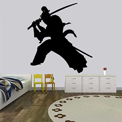 Uiewle Etiqueta de la Pared decoración de la habitación de los niños Espada samurái Etiqueta de la Pared Guerrero Etiqueta de la Pared Etiqueta de la habitación del niño 42x46 cm