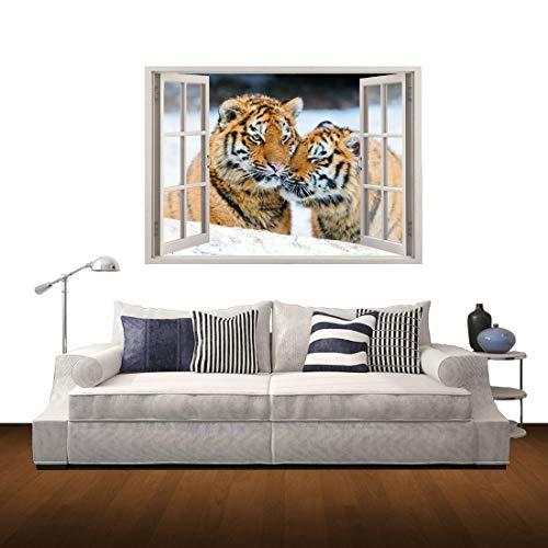 Hmg Etiqueta engomada desprendible del Arte de la Pared de 3D Tiger Window View, tamaño: 60 x 85 x 0.3 cm