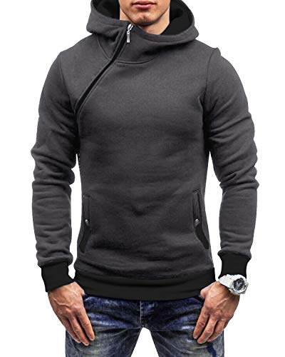 Yidarton Herren Kapuzenpullover Slim Fit Hoodie Sweatshirt Hooded Pullover (Dunkelgrau, Small)