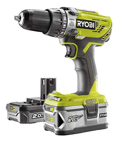 Ryobi R18PD3-242S R18PD3-242S-Taladro de Impacto inalámbrico (2 baterías de 2,0 + 4,0 Ah, 18 V, función de percusión, con Cargador, iluminación)
