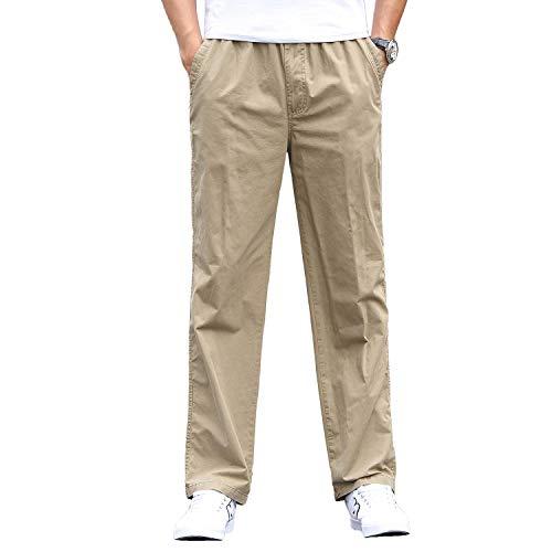 Gmardar Pantaloni Uomo Elegante con Tasche Laterali Zip Elastica Vita Cotone Dritti Larghi Fit Casual Regular Taglie Forti Diversi Colori (Cachi, 29-34)