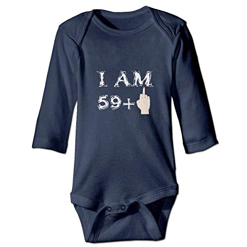 maichengxuan Mameluco Bebé I Am 59 + 1 = 60 Years Old Birthday Recién Nacido Bebé Niño Bebé Niñas Niños Mameluco Bebé Manga Larga 0-24 Months Navy