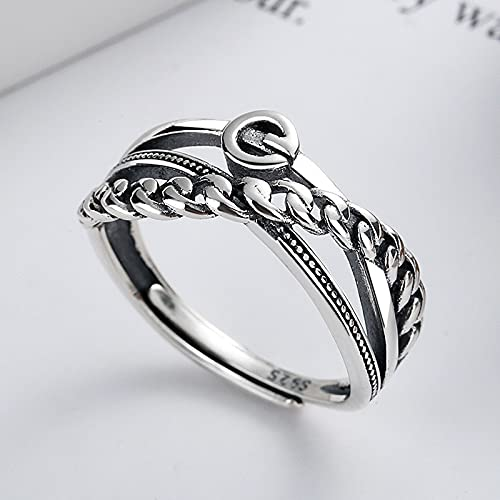 awaFanee S925 Sterling Silver Open Rings Chain Splicing Cross Irregular Finger Joint Toe Ring Party Wedding Cute Jewelry Gifts Women Girls Band Adjustable Size 5-10 Under