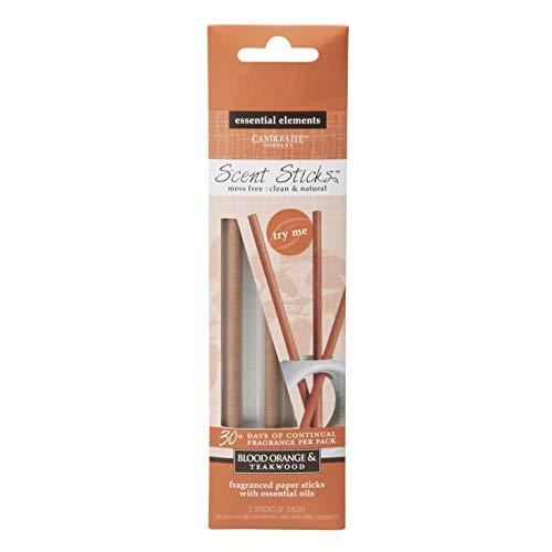 Essential Elements by Candle-Lite Company Flameless Fragrance Blood Orange & Teakwood Duftsticks, Orange, 3-6