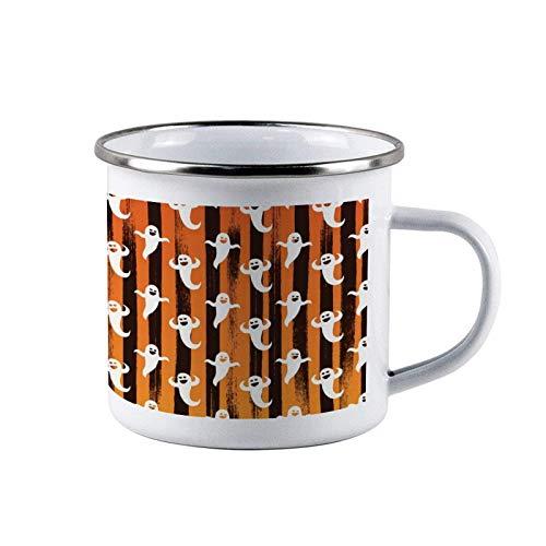 Orange Line - Tazas de acero esmaltado malvado de Halloween, tazas de lata de café de viaje esmaltadas para acampar, tazas duraderas para fogatas al aire libre con asa para niños, hombres, padres, acc