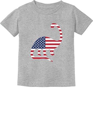 USA Dinosaur American Flag 4th of July Gift Toddler/Infant Kids T-Shirt 3T Gray