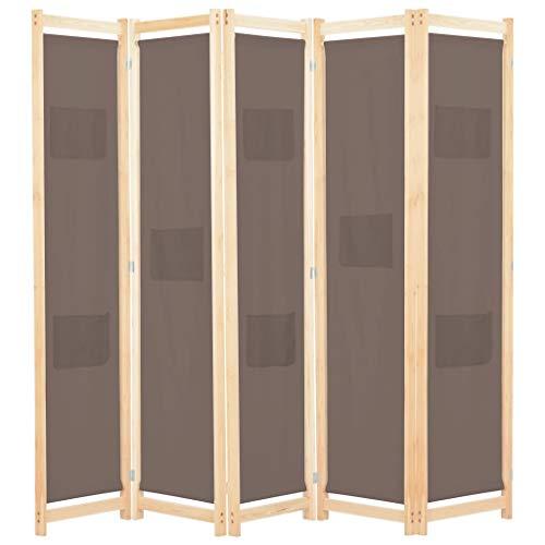 UBaymax Paravent Raumteiler Trennwand 5-teiliger aus Tannenholz, Faltbar Holz Spalier Raumtrenner Wandschirme Sichtschutz für Wohnung, Wohnzimmer, Terrasse, Balkon, Garten, Braun