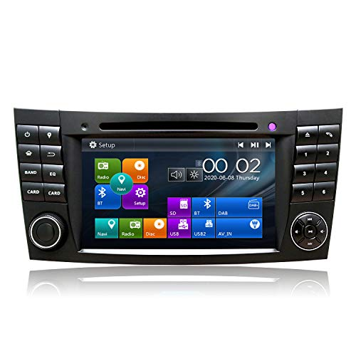 SWTNVIN Autoradio Stereo Adatto per Mercedes Benz Classe E W211 CLS W219 In Dash 7 Pollice Navigatore GPS Doppio Din Head Unit Supporto Video Bluetooth SWC Lettore DVD