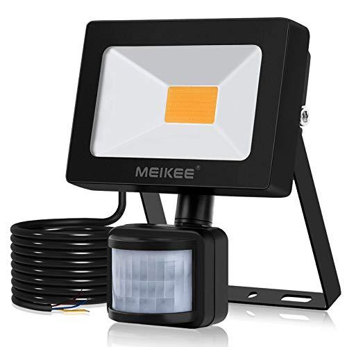 MEIKEE 10W LED Strahler mit Bewegungsmelder Superhell 900LM LED Fluter IP66 Wasserdicht Außenstrahler 3000K Warmweiß Scheinwerfer Außenbeleuchtung für Hof, Garage, Garten