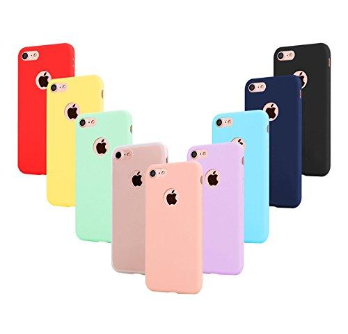Leathlux 9 Coque Compatible avec iphone 6 Plus 5.5 Pouces Étui Silicone, Mince Souple TPU Housse Protection Gel Cover Case Rose, Vert, Violet, Bleu Ciel, Jaune, Rouge, Bleu Foncé, Translucide, Noir