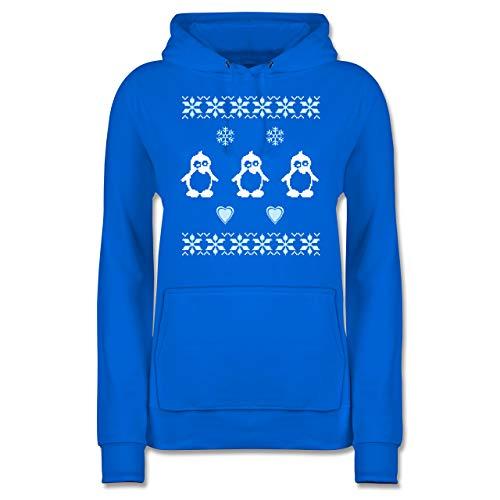 Weihnachten & Silvester - Norweger Pixel Pinguin - L - Himmelblau - Norweger Pullover Familie - JH001F - Damen Hoodie und Kapuzenpullover für Frauen