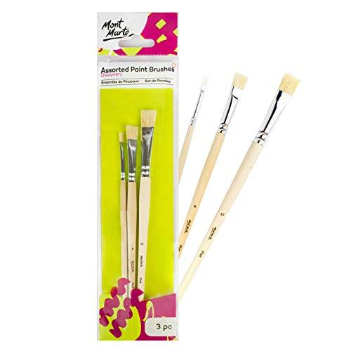 Mont Marte Borstenpinsel 4 8 12 – 3 Stück – Pinselset für Anfänger – Ideale Flachpinsel für Ölfarben, Acrylfarben, Gouache