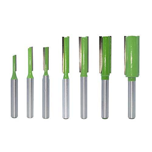 DingGreat 7Pcs 6mm Vástago Cortador de Fresado de Broca Recta de Flauta Simple/Doble, herramienta de corte de carpintería