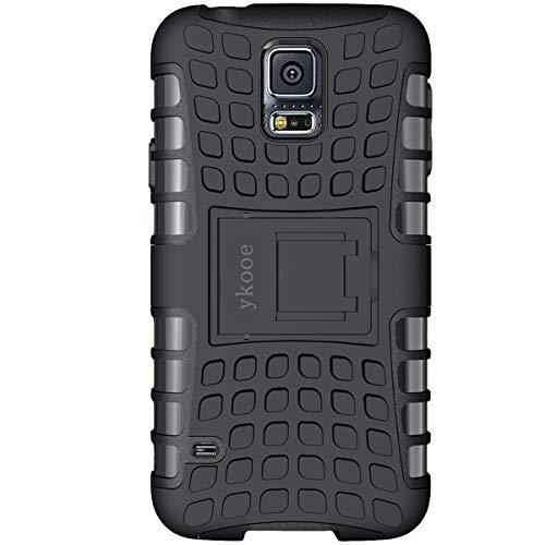 ykooe Galaxy S5 Hülle,S5 Hülle (TPU Series) Dual Layer Hybrid Handyhülle Drop Resistance Handys Schutz Hülle mit Ständer für Samsung Galaxy S5 (Schwarz)