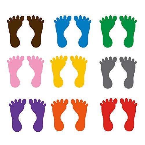 Toyvian - Pegatinas en forma de huellas de pies, impermeables y resistentes al desgaste, para suelos, bañeras, paredes, decoración de casa, techos, aulas, 18 pares