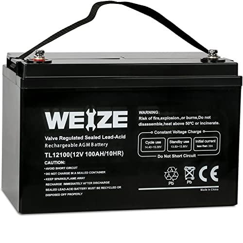 Weize 12V 100AH Deep Cycle AGM SLA VRLA Battery for Solar System RV Camping Trolling Motor, in Series 24V 36V 48V