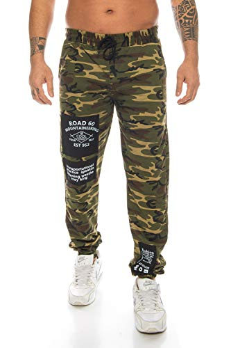 Raff&Taff Herren Sportwear Sporthose Cannabis Joggingshose Camouflage Bundeswehr Hose Tarnhose Cargohose Biker Hose Amerika (Black, XXL) (S, Woodland(2001))