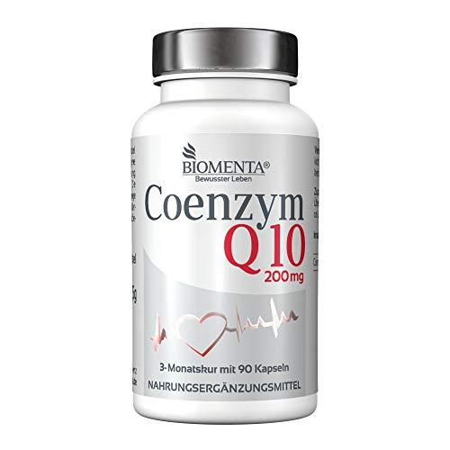 BIOMENTA Coenzima Q10 - 200 mg de ubiquinona por cápsula - 90 cápsulas veganas de Coenzima Q10 en dosis alta durante 3 meses