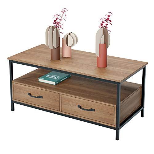 HOMECHO Table Basse avec 2 Tiroires Bidirectionnel Table de Salon Style Industriel de Bois et Métal Meuble TV pour Salon Chambre Bureau Salle de...