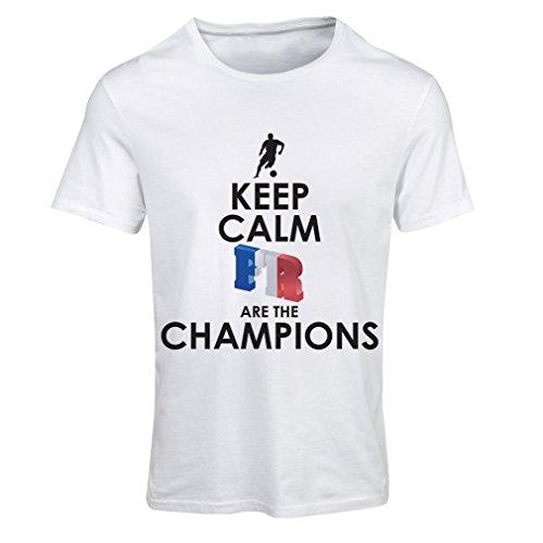 Camiseta Mujer Los franceses Son los campeones: Campeonato de Rusia 2018, Equipo de fútbol de la Copa del Mundo, Camiseta de la afición de Francia (X-Large Blanco Multicolor)