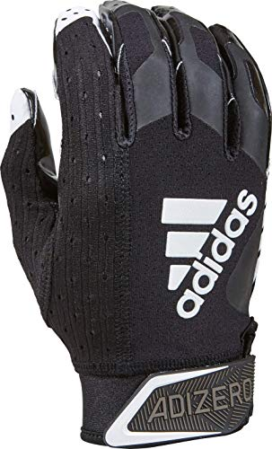 adidas Adizero Football Gloves, Large, Black/White - Receivers Gloves with Added Grip