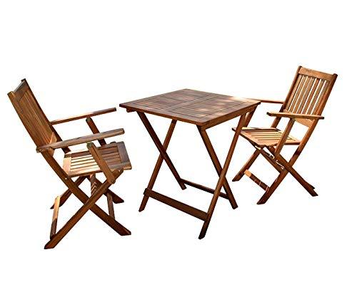 SAM 3-TLG. Gartengruppe Chile, 1 Tisch + 2 Stühle, klappbar, Akazienholz geölt, Balkonmöbel