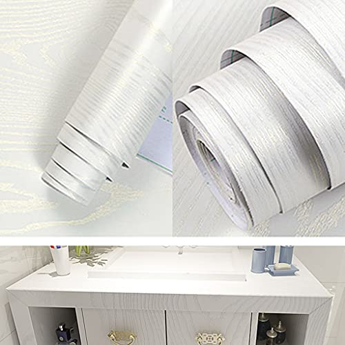 PVC Wallpaper Roll, NIVCWood Grain Self Adhesive Wall Paper Roll for Furniture Decorative Waterproof Wallpaper Vinyl Wood Adhesive Roll